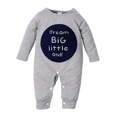 Baby Unisex Grey Warm Clothing Letter button Long Sleeve Romper Outfits Playsuit