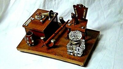 Unique Vintage 1930 Wood Carved Mini-Sculpture Ink Well Writing Desk