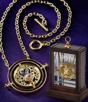 Gold Hourglass Time Turner Necklace Harry Potter Hermione Granger Rotating Spins