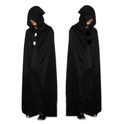 Gothic Hooded Stain Cloak Robe Witch Cape Women Men Halloween Costumes Black