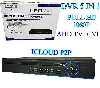 Dvr 8 Canali Ibrido Cloud 5 In 1 Ahd Cvi Tvi Analogico 8 Ch Full Hd 1080P Leovin