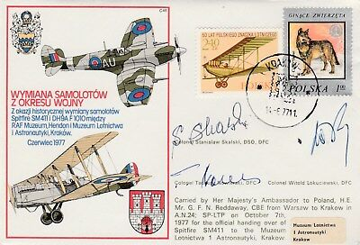 RAF cover signed Battle of Britain Polish pilots Skalski, Nowierski +Lokuciewski