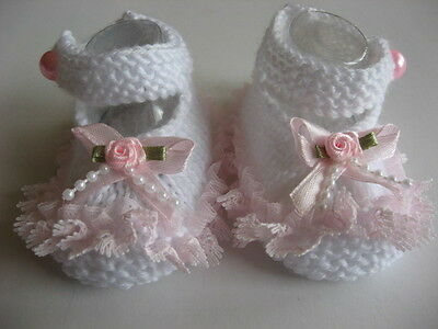 Hand knitted white baby booties to fit 0-3 months