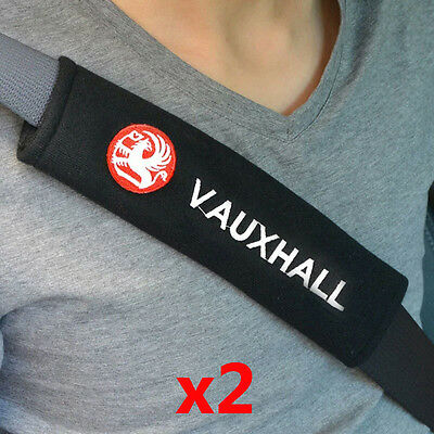 x2 VAUXHALL Logo Embroidered Car Seat Belt Covers Styling Pads VXR Corsa Astra