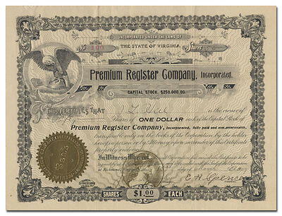 Premium Register Company Stock Certificate, Inc. (Early Advertising Method)