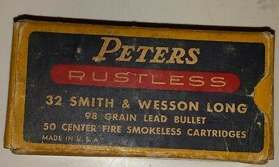 """Vintage American """"peters 32 Smith & Wesson Long Center Fire"""" Cardboard Box-Empty"""