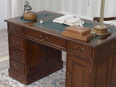 Regency Office Desk VICTORIAN English style 120cm  Partners Pedestal MAHOGANY