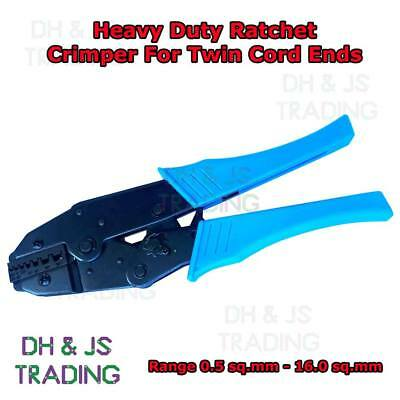 Heavy Duty Ratchet Crimpers For Twin Cord End Terminals 0.5mm² - 16.0mm²