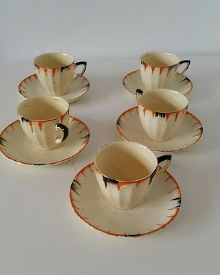 5 crown ducal leighton hand painted pottery cups and saucers rare