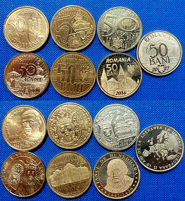 ~FULL SET~ 50 BANI 2010 2011 2012 2014 2015 2016 2017 UNC Romania Coin
