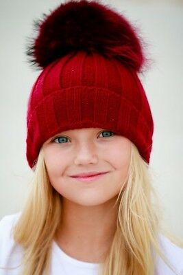 Toddler Kids Teen Pom Pom Hat Boys Girls Real Fur Warm Beanie Winter Bobble Cap