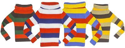 Girls Bright Rainbow Retro Stripe Ribbed Roll Neck Knit Jumper 2 to 12 Years