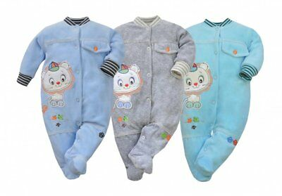 Baby Sleepsuit/Babygro Cotton Rich Velour with embroidered Motif  Age 3-6m Boys