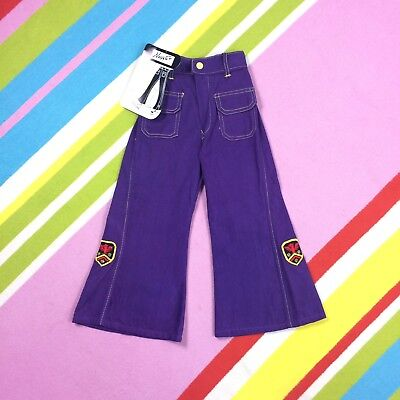 "70s Vtg KIDS Purple Flares Children's Bell Bottom Trousers 27"" age 2-3 years"