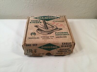 Vintage DIAMOND Eagle Ringer Professional Pitching Horseshoe Set ~ In Box