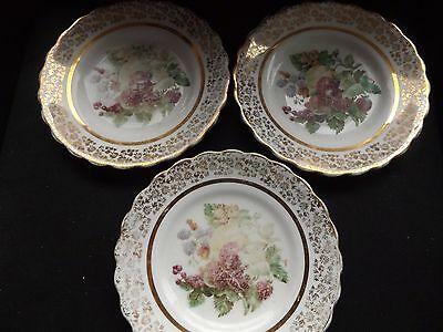 3 Bone china plates with strawberries