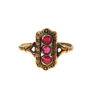 Antique Ruby Glass Gold Fill Victorian Ring