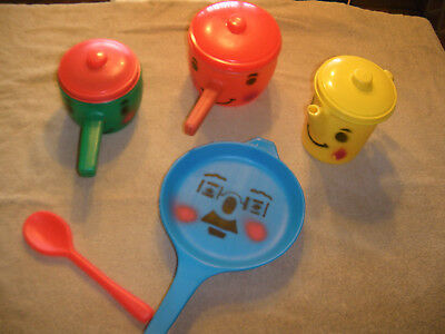 Vintage Worcester Toy Co. Play Kitchen Set Pots, Pan, Kettle, and Spoon W/ Faces