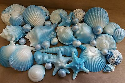 30 Edible Sugar Icing Sea Shells Beach Themed Wedding Toppers Cake Decorations