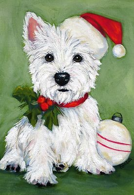 Westie Christmas Puppy Flag Rescue Free Ship Usa