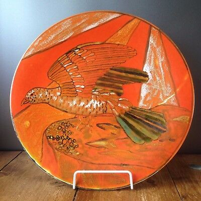 RARE c1964-66 POOLE STUDIO POTTERY ORANGE PHEASANT CHARGER PLATE TONY MORRIS ?