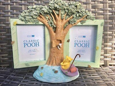 *NEW* Boxed Classic Winnie the Pooh Rainy Day Double Photo Frame - FREE P&P