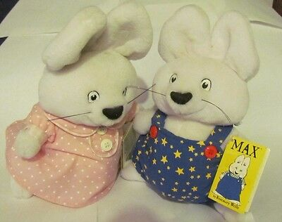 """9"""" Eden Max & Ruby PLUSH MAX & RUBY BUNNY RABBITS 1997 Easter set of two NWT"""