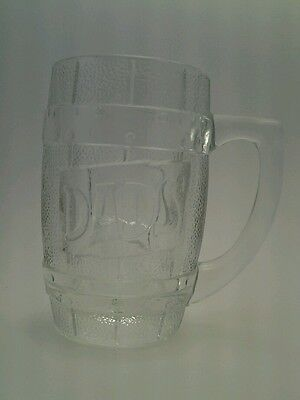 Vintage Dad's Rootbear Barrell glass mug, very heavy clear glass