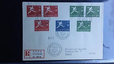 Unique World Cup 1958 fdc with 7 stamps, 4 postmarks, inside card, 7 MNH stamps