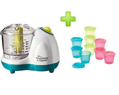 Tommee Tippee Baby Small Portions Food Blender + 9 Pots Food Storage and Lids