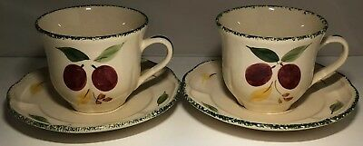 Brand New Pair Of St Michael / Marks & Spencer / M&s Damson Tea Cups And Saucers