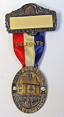 1928 PENNA. STATE CONVENTION EAGLES York Pennsylvania medal badge +