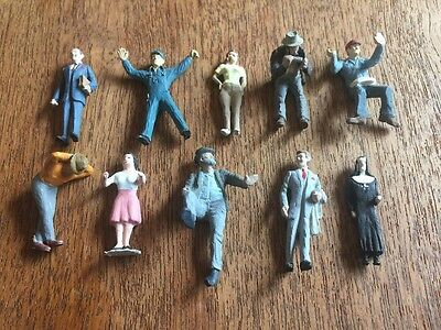 Detailed Lot Of 10 People Pewter Metal Figure O / S Scale Train Layout