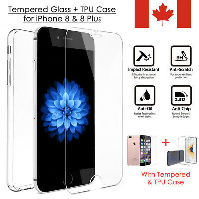 New Tempered Glass Screen Protector Film & Crystal TPU Case For iPhone 8 8 Plus