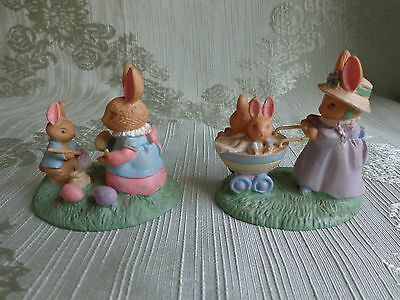 Miniature Bunny Figurines - Avon Forest Friends - Easter Fun - Springtime Stroll