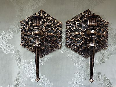 Vintage Homco Wall Sconces - Candle Holders - Gothic Set of 2 - Black Gold