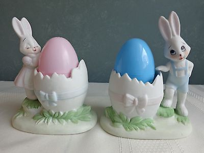 Porcelain - Easter Bunny Rabbit Egg Cup Holders - Leggo