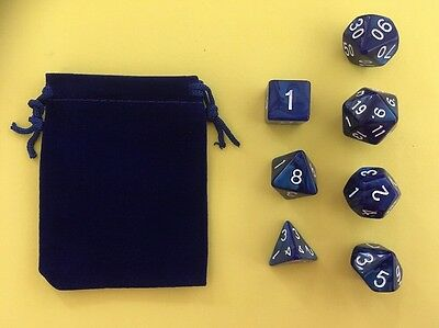 NEW Blue marble effect dungeons & dragons Dice 7 piece/set in Luxury Velvet Bag