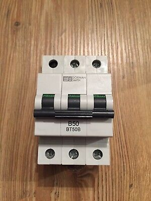 Dorman Smith 50 Amp Type B BT50B Circuit Breaker MCB 3 Phase Pole B
