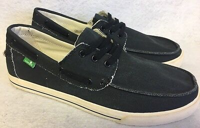 Sanuk The Sea Man Black Washed Lace Up Boat shoes Loafers sizes Men's Sneakers