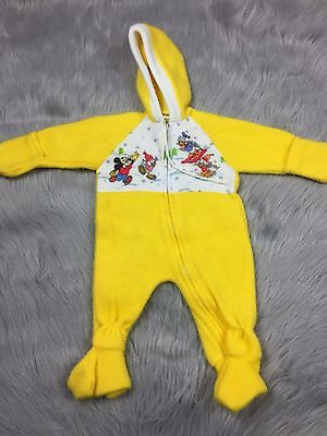 Vintage Bright Yellow Fuzzy Baby 0-6m Snow Suit Disney Mickey Mouse Winter