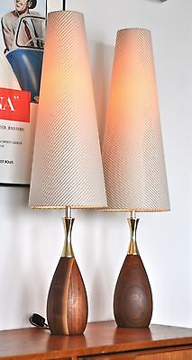 Mid Century Danish teak Tony Paul 'CLYNN' Westwood Table LampS new shades PAIR