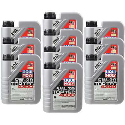 10X1 LITRE GENUINE Liqui Moly 3740 TOP TEC 4300 5W-30 Oil Engine Oil