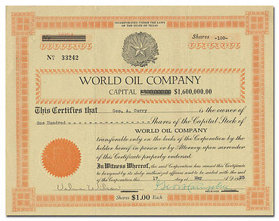 World Oil Company Stock Certificate (Texas Fraud)