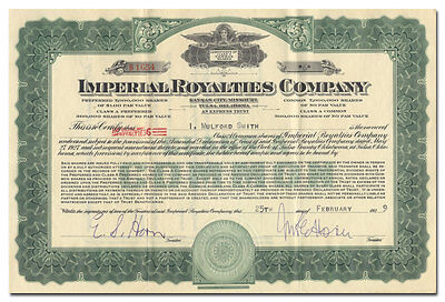 Imperial Royalties Company Stock Certificate (Kansas City & Tulsa Express Trust)