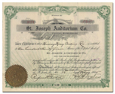 St. Joseph Auditorium Co. Stock Certificate (Missouri)