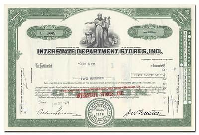 Interstate Department Stores, Inc. Stock Certificate