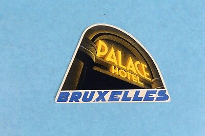 Vintage Palace Hotel Brussels Belgium Luggage Label Sticker Decal Unused