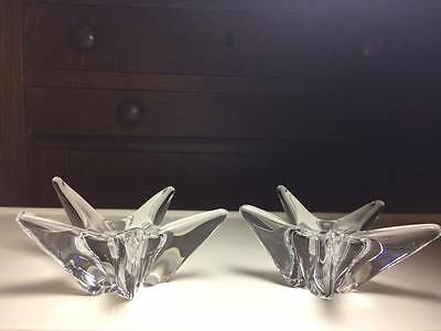 Signed Daum  crystal tapered candlestick holders made in France