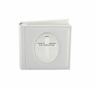 Christening Photo Album Silver Cross White Leather Bound